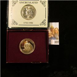 1982 D BU & 1982 S U.S. Silver Proof George Washington Commemorative Half Dollars in original U.S. M