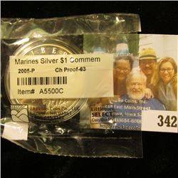 2005 Marines Silver Dollar Commemorative in Littleton Coin Cellophane Holder graded CH PROOF-63. Enc