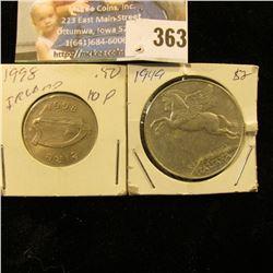 1949 Italy 10 Lire & 1998 Ireland Ten Pence.