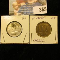1953 Italy 5 Lire & 10 Agorot from Israel.