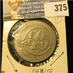 1981 Mexico Large 20 Peso Coin.