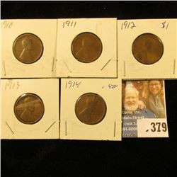 1910P, 11P, 12P, 13P, & 14P U.S. Wheat Cents. All good.