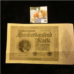 1923 German 100,000 Mark Banknote. Two folds.