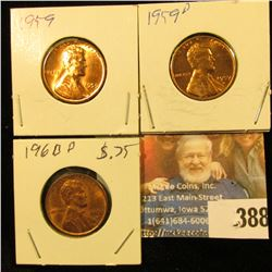 1959 P, 59D, & 60D Red Gem BU Lincoln Cents.
