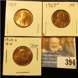 1969 P, D, & S Red Gem BU Lincoln Cents.