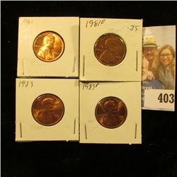 1981 P, D, 83 P, & D Red Gem BU Lincoln Cents.