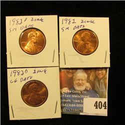 1982 P small Date, 82 D small date, & 82 D Large Date (all Zinc) Lincoln Cents