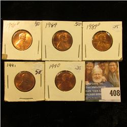 1989 P, D, 90 P, D, & 91 P Red Gem BU Lincoln Cents.