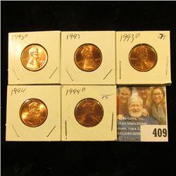 1992 D, 93 P, D, 94 P, & D Red Gem BU Lincoln Cents.