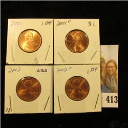 2001 P, D, & 2002 P, D Red Gem BU Lincoln Cents.