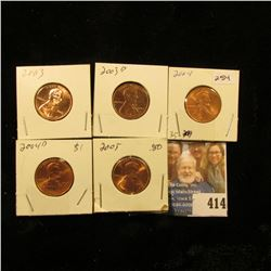 2003 P, 03D, 04P, 04D, & 05 P Red Gem BU Lincoln Cents.