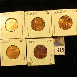 2005 D, 06 D, 07 D, 08 P & D Red Gem BU Lincoln Cents.