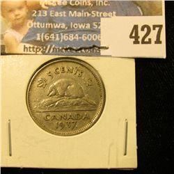 1937 Dot Canada Nickel, EF.