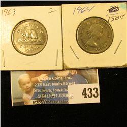 1963 & 64 Canada Nickels.