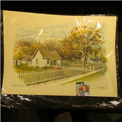 "12 1/8"" x 16 3/4"" Stan Haring Print of Herbert Hoover Birthplace, West Branch, Iowa"