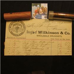 "August 13, 1885 Invoice ""Bought of Wlkinson & Co. Whoelsale Druggists…Keokuk, Iowa""; & a pair of 195"