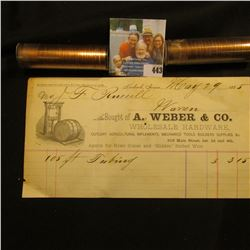 "May 29, 1885 Invoice ""Bought of A. Weber & Co. Wholesale Hardware…Keokuk, Iowa""; 1961 P & 68 D Gem B"