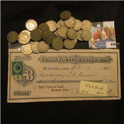 "Oct. 3, 1882 ""Clark County Savings Bank Kahoka, Mo. to State National Bank, Keokuk, Iowa"" Check with"