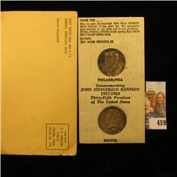 """1964 P & D Superbly Toned Kennedy Half Dollars in original """"Tidy House Products Co….Omaha, Nebraska"""""""
