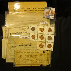 Several early Iowa Invoices and receipts dating 1866-1916; & (8) Lincoln Cents dating 1951D to 1959D
