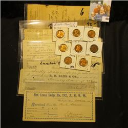 Several early Iowa Invoices and receipts dating 1877-1887; & (8) Lincoln Cents dating 1951D to 1959D