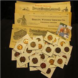 """Group of 1903-1919 """"Biklen, Winzer Grocer Co. Wholesale Grocers, Burlington, Iowa"""" Invoices; & (30)"""