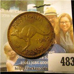 1942 Australia Large Penny, mostly Brown AU.
