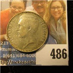 1913 Belgium, Silver One Franc, Choice BU.