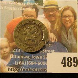 1862 Belgium Five Cent Error Coin with large rim cud, KM21.