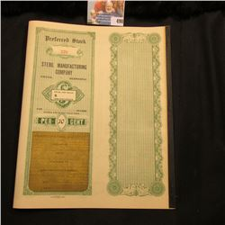 Early 1900 Unissued Stock Certificate for  Steril Manufacturing Company with two pages of interest c
