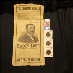 """Flyer for """"The Converted Gambler…Mason Long Will address the Citizens of Defiance June 10 At 730 P,M"""
