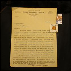 """Feb. 8, 1908 letter on letter head """"Executive Offices Crosby Steam Gage & Valve Co. 97 Oliver St., B"""