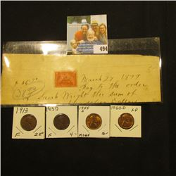 March 27, 1899 hand written check with 2c Documentary Stamp; 1913P Fine, 13D Fine, 55S BU, & 1960 D
