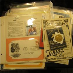 "1975 Schiltz Beer Medal; ""Say ""Schlitz""…"" Advertisement; Large Format Match book ""Town Tavern Straig"