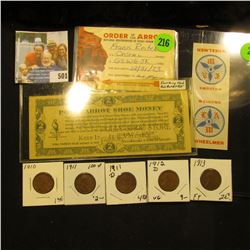 "1910P EF, 11P F, 11D Good, 12D VG, & 13P Fine Lincoln Cents; ""Welcome Wheelmen"" Ticket; ""Fairbury, N"