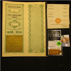 "(5) Business Cards ""Established 1910 Incorporated 1914 Manufacturers Jobbers Chapel Tents Manufactur"