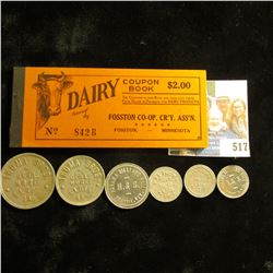 "(6) Different Good for Tokens from Iowa and Wyoming; & an old, but Mint condition ""$2.00 Dairy Coupo"