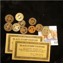 "Pair of Lansing, Mich. Scrip ""Black Stamp Coupons"" and a group of ten old Transportation Tokens."