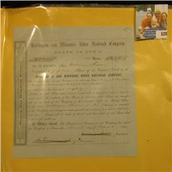 "March 2nd, 1859 Stock Certificate for 15 Shares ""Burlington and Missouri River Railroad Company Stat"