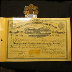 "April 25th, 1872 ""United States of America State of Nebraska Burlington and Missouri River Railroad"