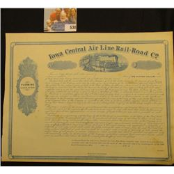 "May 15th, 1856 Unissued Stock Certificate ""Farming Land Scrip Iowa Central Air Line Rail-Road Co."","