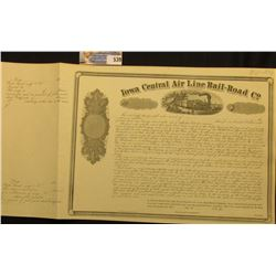 "May 15th, 1856 Unissued Stock Certificate "" Iowa Central Air Line Rail-Road Co."", which would have b"