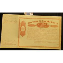 "March 18th, 1858 ""Town Lot Scrip. Iowa Central Air Line Rail-Road Co."", unissued with stub. Central"
