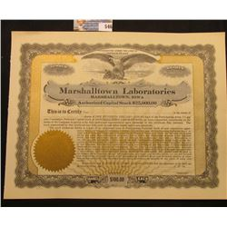"Unissued Capital Stock Certificate ""Marshalltown Laboratories Marshalltown, Iowa"", upper central vig"