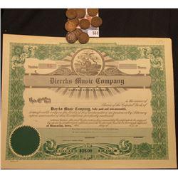"Unissued ""Iowa"" Stock Certificate ""Diercks Music Company"", Iowa State Seal upper center; & (10) 1904"