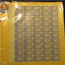 """Mint Sheet of 50 Three Cent Stamps United States Postage """"Honoring the International Red Cross Found"""