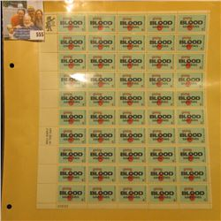 """Mint Sheet of 50 Six Cent Stamps United States Postage """"Giving Blood Saves Lives""""; & 1932 Mint Sheet"""