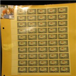 """Mint Sheet of 50 Five Cent Stamps United States Postage """"1863 International Red Cross 1963""""; & 1932"""
