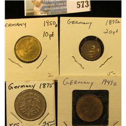 1875A German Silver Mark, originally had a pin-back on the reverse, which has been removed; 1949D &