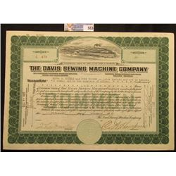 """November 15th, 1921 Certificate for One Share """"The Davis Sewing Machine Company"""" Incorporated under"""